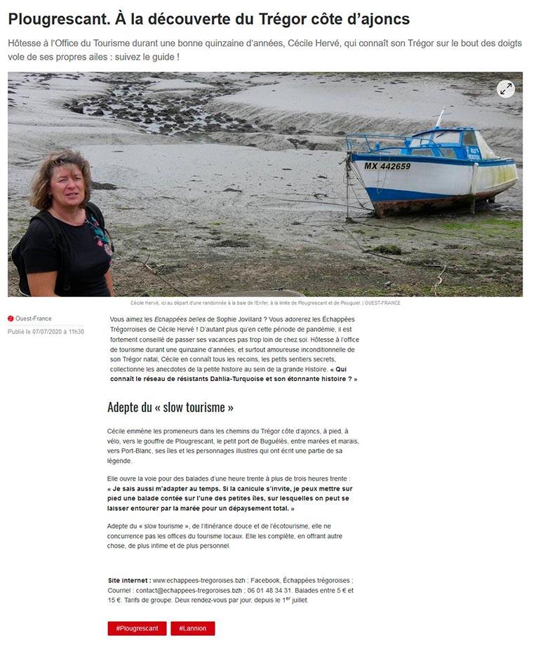 article Ouest-France, Echappées trégoroises